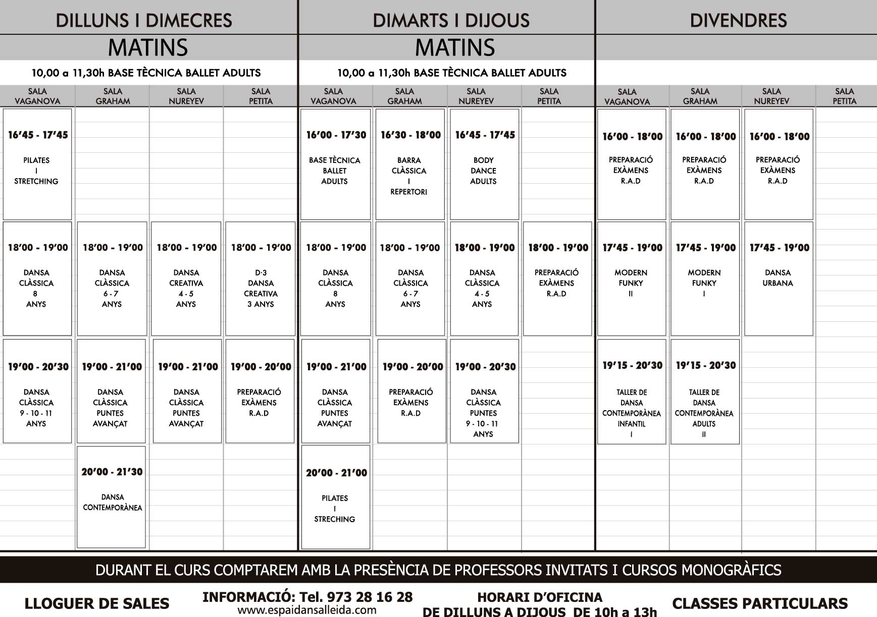 Horaris actualitzats temporada 2018 - 2019