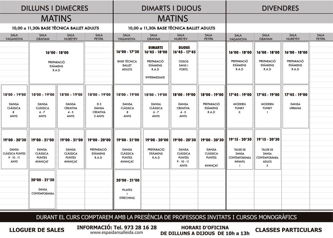 Horaris Espai Dansa per al curs 2019 - 2020
