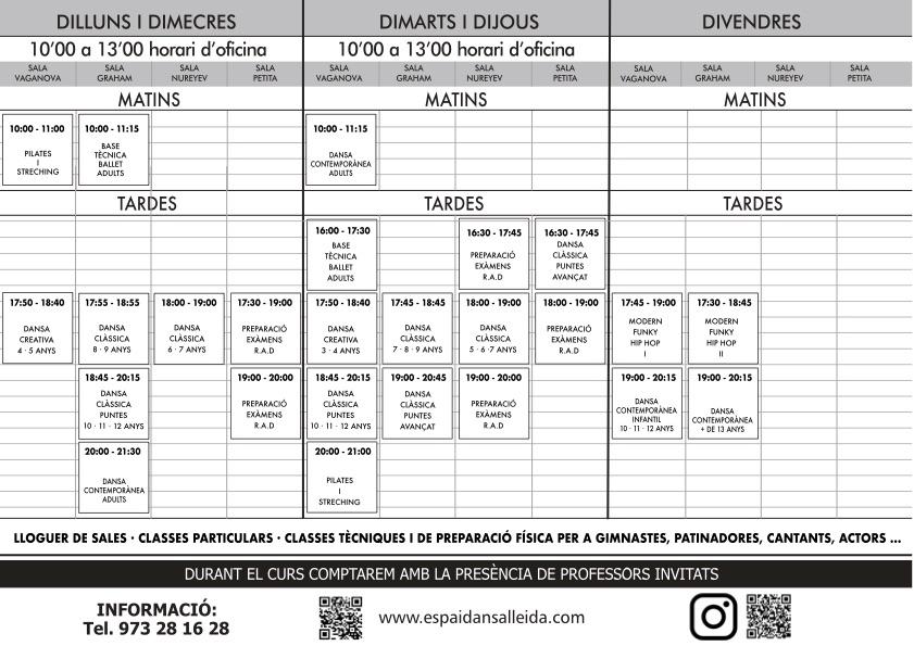 Horaris escola de dansa curs 2021 - 2022
